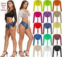 Women Ladies Full Mesh Sheer Chiffon Bolero Cropped Shrug Top Cardigan Size 8-14