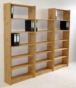Massivholz Bibliothek Kiefer gelaugt geölt Büro-regal Bücher-schrank regale Holz