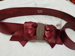 Salvatore Ferragamo ladies Red Leather Bow Belt