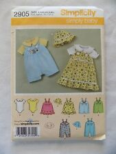Simplicity 2905 Simply Baby Jumper Romper Hat Knit Bodysuit Patterns Size A 2008