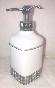 Bella Lux Style Crystal Rhinestone White Ceramic Soap Lotion Pump Dispenser New