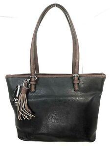 Womens New Directions Shoulder Handbag Purse Tote Large Black Brown Snap Close