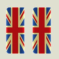 2x Vintage Union Jack Full Flag - Gel Domed Number Plate Badges/Decals 107x42mm