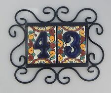 TWO Mexican HOUSE NUMBER Tiles & Iron Frame Horizontal High Relief