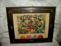 LEATHER PICTURE FRAME GILT 1945 CALENDAR PRINT DIONNE QUINTUPLETS HARVEST DAYS