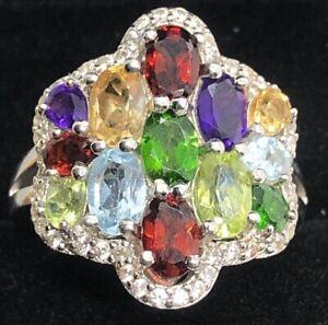 Sterling Silver Ring 925 Size 10 Signed China Y Multi Gemstone Topaz Garnet