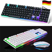 Gaming Tastatur Keyboard Maus Set RGB LED USB Mechanisch für PC Laptop PS4 Slim