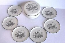 """Vtg Buffalo NY 6 Plastic Coasters in Matching Box Marked For AM&A's Japan Apx 4"""""""