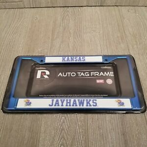 Kansas Jayhawks KU License Plate Cover Blue & White Rock Chalk University of KS