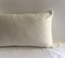 NEW Designer Fabric Ivory Blue Chevron Lumbar Pillow Cover 12x20