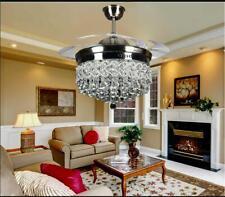 Elegant Sliver Crystal LED Chandelier Remote Invisible Blade Ceiling Fan Light