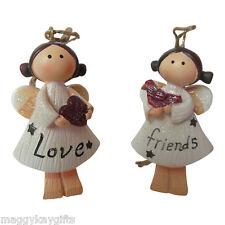 CONFEZIONE DA 2 Love & Amici Luccicante Angelo Decorazioni Albero Di Natale