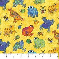I Spy Amazon Cotton Quilt fabric by Northcott BTY Frogs & Bugs on Yellow 900-52