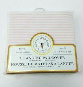 "Burt's Bees 100% Organic Standard 16"" x 32"" Changing Pad Cover Blossom Stripe"