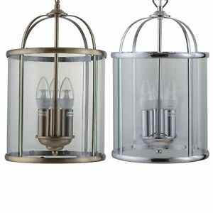 Traditional Style 3 Light Glass Lantern Pendant Ceiling Light Fittings