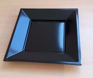 "10 x Black 7"" 18cm Square Disposable Plastic Plates Party Wedding Buffet BBQ"