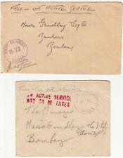 India: 4 O.A.S. Unit Censored Covers: Ranchi, Jharkhand, to Grindlay & Co, 1943