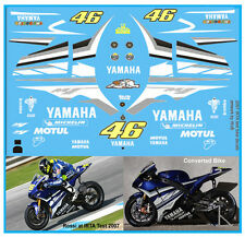ROSSI IRTA TEST BIKE - YAMAHA  M1 - 2007 1:12 SCALE DECALS for TAMIYA /MINICHAMP