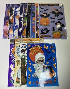 Halloween Window Clings Vintage Lot of 13 Sheets Ghost Bat Pumpkin Witch
