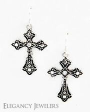 VFC Antique Silver Tone Religious Cross Fish-Hook Style Earring Set