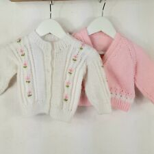 Bundle Of 2 Hand Knitted Baby Girls Cardigans Pink White Floral Age 3-6 Months