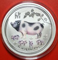 """Australien 1 Dollar 2019 1 Uz Lunar II """"Year of the Pig"""" #F3612 Coloriert, rare"""