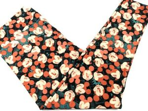 Lularoe Womens Disney Leggings TC2 18-28 Orange Black Mickey Mouse Plus Size