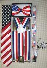 US Flag American Flag Suspenders,Lanyard,Tie &US Patriotic Flag Adj. Bow Tie-V1