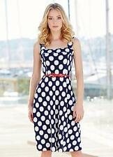 Spotted Sleeveless Dresses for Women with Fit & Flare