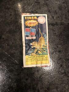 Vintage Firecracker Pack Label Tiger Crackers Brand 1 1/2 12s
