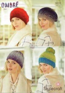 Stylecraft Ombre Aran 9222 Knitting Pattern Beret Pom Pom Hat Ribbed Hat Slouch