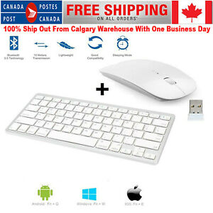 Slim Bluetooth Wireless Keyboard & 2.4GHZ Optical Mouse for Android Windows PC