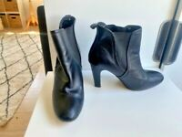 Basque Size 38 / 7 7.5 Black Leather Ankle Boots Stacked Heel Slip On - Elastic