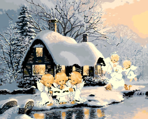 Large Paint By Numbers Kit 50*40cm 8073 Fun Art Decor Snow House