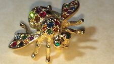 JOAN RIVERS BEE BROOCH/PIN MULTI COLOR GOLD TONE CRYSTALS