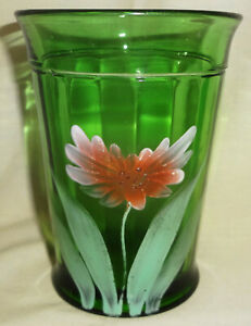 "Antique Signed NORTHWOOD green PRETTY PANELS pattern 4"" WATER TUMBLER-OPEN ASTOR"