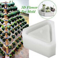 3D Flowerpot Silicone Mold Handmade Triangular Concrete for Succulent Plants