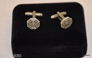 Masonic  ( Freemason ) die stamped cast metal antique finish cuff links