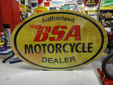 "BSA OVAL  DEALER  MOTORCYCLE  LG  SIGN  15"" x 24""  PARTS EC0252"