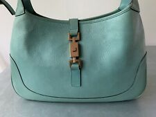 Authentic Gucci Turquoise Leather Jackie O Hobo Bag Made In Italy Borsa Turchese