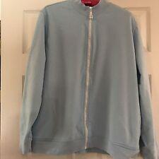 Drapers & Damon's cardigan powder blue rhinestone zip 1X