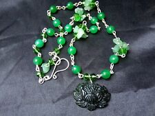 Carved Lotus Flower Green JADE pendant QUARTZ Aventurine Crystal beaded NECKLACE