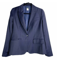 J Crew Women's Pinstripe Blazer Jacket Wool One Button Closure Navy Blue Size 8