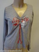 NEUF LOOK femmes gris col V imprimé manche longue T-shirt haut UK 8 UE 36