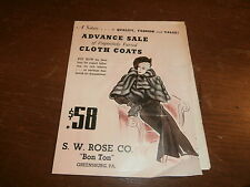"1935 store ad for fur coats in color S.W. Rose Co. ""Bon Ton"" greensburg Pa"