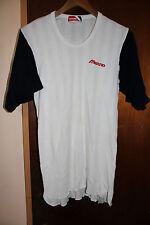 Mizuno Baseball White Blue Sleeve Shirt Top Size Small - Medium Stretchy