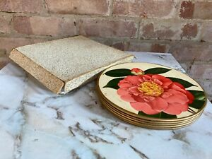 Set of Vintage 1950's Round Flower Pattern Place Mats with Cork Bottoms