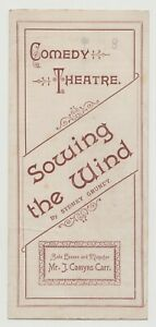 """ANTIQUE VICTORIAN THEATRE PROGRAMME """"Sowing the Wind"""" Comedy Theatre"""