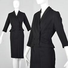 M 1950s Black Dress Wool Knit Two Piece Illusion Peplum Jacket Pinup LBD 50s VTG