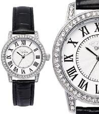 Damen Armbanduhr Weiß/Silber Crystal schwarzes Lederarmband von gooix GX08004004